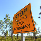 Stop Training Area Boundary Sign Royalty Free Stock Photography