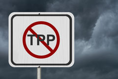 Stop the Trans-Pacific Partnership white road sign Stock Images