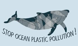 Stop trashing our ocean. Stop ocean plastic pollution vector illustration. World Water Day. Earth Day vector illustration