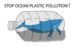 Stop trashing our ocean. Stop ocean plastic pollution vector illustration. World Water Day. Earth Day stock illustration