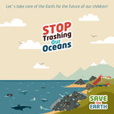 Stop trashing our oceans. Save the Earth eco illustration Royalty Free Stock Photos