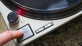 Stop turntable. Of the plate at 33 rpm. Stroboscope correct disk speed checks stock video footage