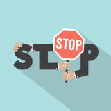 Stop Typography With Stop Signboard Design royalty free illustration