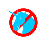Stop unicorn. Ban LGBT red road sign. Prohibited gay Royalty Free Stock Images