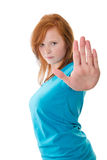 Stop - up to here and no further!. Woman gesture stop sign Stock Photography