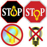 Stop using light bulbs Set Royalty Free Stock Photos