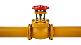 Stop valve and pipe. Industrial stop valve and pipe isolated on white background Stock Photography
