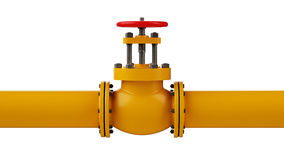 Stop valve and pipe. Industrial stop valve and pipe isolated on white background Royalty Free Stock Photos
