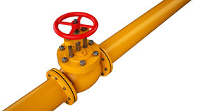 Stop valve and pipe. Industrial stop valve and pipe isolated on white background Stock Photo