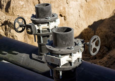 Stop valves HDPE pipe. Stop valves constructed on an underground pipeline from HDPE pipes stock photography