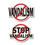 Stop vandalism - sticker sets Royalty Free Stock Image