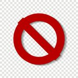 Stop vector icon.The crossed-out circle. Red stop sign. Warning. Sign on a transparent background. Layers grouped for easy editing illustration. For your design stock illustration