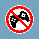 Stop video games. Ban Gamepad red sign. Prohibited joystick. Vin Stock Photo