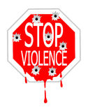Stop violence. Red traffic sign vector with bullet holes and blood drops Stock Photo