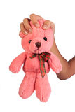 Stop violence against children. Strangling teddy bear. Stop violence against children Royalty Free Stock Photography