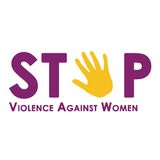 Stop violence against women isolated on white. Stop violence against women logo with retro background  Abstract illustration with woman crying blood tears Stock Photo