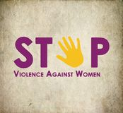Stop violence against women. Logo with retro background Stock Images