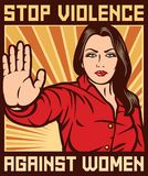 Stop violence against women poster Royalty Free Stock Images