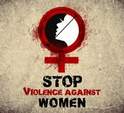 Stop violence against women vintage Stock Photos