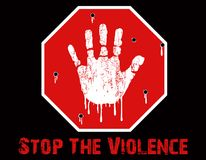 Stop The Violence Conceptual. A Stop The Violence Conceptual created in Photoshop, depicting a child`s grunge hand print on a stop sign, with bullet holes and Royalty Free Stock Photo