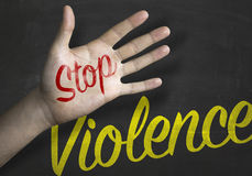 Stop Violence educacional message on blackboard Royalty Free Stock Images