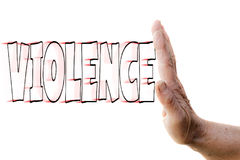Stop the violence. Hand of a woman stopping VIOLENCE Stock Image