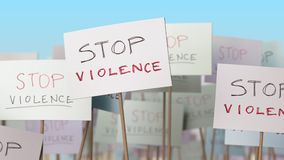 STOP VIOLENCE placards at street demonstration. Conceptual loopable animation. Placards at street demonstration. Loopable animation stock video