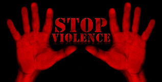 Stop Violence - Red Hands Royalty Free Stock Image
