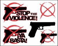 Stop the violence. Set 3. A set with two logos about nonviolence. Without firearms. On a neutral white background. Phrases in English and Spanish. It includes Stock Photo