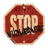Stop Violence Sign Grunge. Rusted Metal Old Road Red Background Art Logo Graffiti stock illustration
