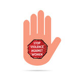 Stop violence sign on hand colorful illustration Royalty Free Stock Images