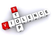 "Stop violence. Text ""stop violence"" with letters inscribed on small cubes and arranged crossword style with common letter ""o"", white background Stock Photography"