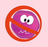 Stop virus - aids virus in red alert sign. Stop virus warning sign. Vector illustration of aids virus in red alert circle isolated on pink background Royalty Free Stock Images