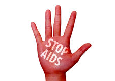Stop virus aids written on woman hand Stock Images