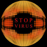 Stop virus concept.Orange globe shape on black background with t Stock Image
