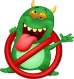 Stop virus - green virus in red alert sign Stock Image