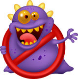 Stop virus - purple virus in red alert sign Royalty Free Stock Images