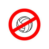 Stop volleyball. Prohibited team game. Red prohibition sign. Cro Royalty Free Stock Photography