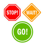 Stop wait go sign. S isolated on white Stock Image