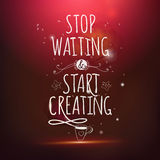 Stop waiting drawing lettering at red backdrop Royalty Free Stock Images