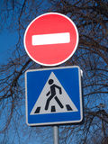 Stop and walk road traffic signs. Outdoor Royalty Free Stock Images