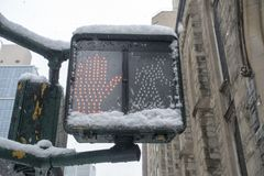 Stop walking lighted new york city street sign with spot hand icon and snow cover. Pedestrian electric urban street corner sign with red hand icon royalty free stock photos