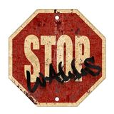 Stop Walls Sign. Stop Trump Wall Sign Grunge Rusted Metal Old Road Red Background Art Logo Graffiti royalty free illustration
