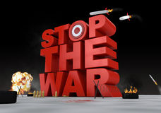 Stop the war. 3D scene created to say a message Royalty Free Stock Photography