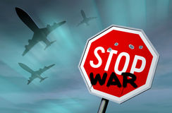 Stop war. STOP sign with graffiti against the night sky Stock Image