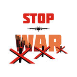 Stop war banner. Stop war. The antiwar poster with the image of the city destroyed by bombings.  Vector illustration Royalty Free Stock Photo