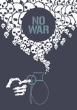 Stop war concept vector illustration with grenade Royalty Free Stock Image