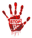 Stop the war!. Handprint with blood dripping and says stop Royalty Free Stock Images