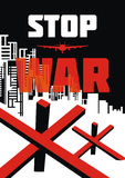 Stop war  illustration. Stop war. The antiwar poster with the image of the city destroyed by bombings.  Vector illustration Stock Photography