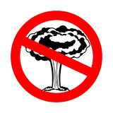 Stop war. Nuclear explosion is prohibited. Red prohibition sign. Ban Stock Images